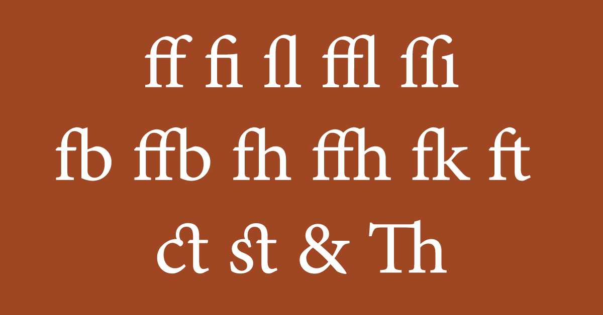 Ligatures: marriages of suitable characters