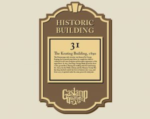 bronze historical plaque for Gaslamp District in San Diego