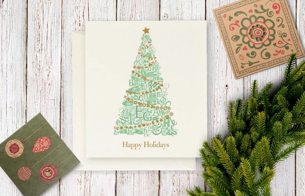 Christmas tree letter collage