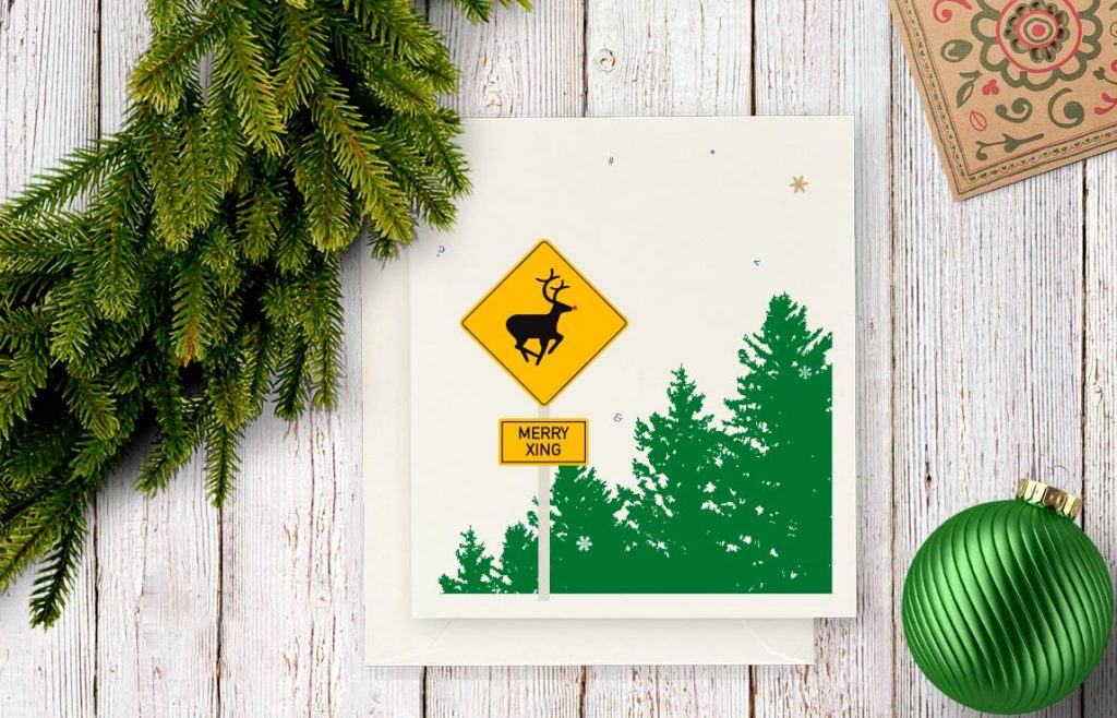 Holiday deer crossing
