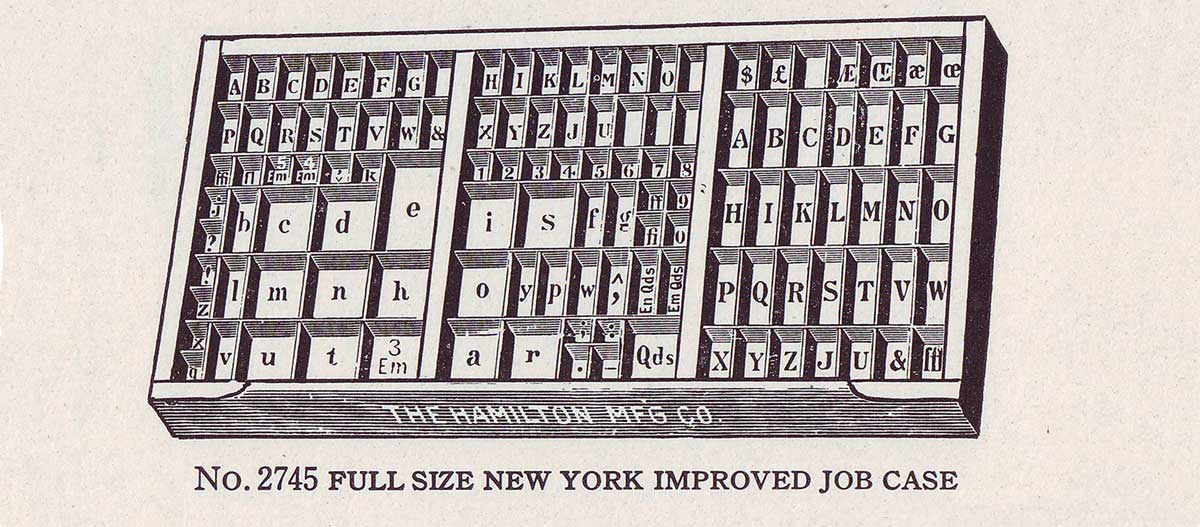 Hamilton New York job case, from the 1923 American Type Founders catalog