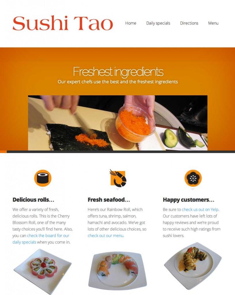 sushi tao responsive website