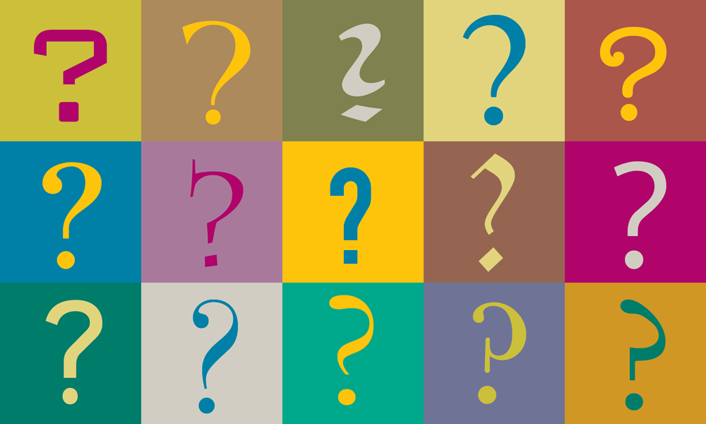 question marks from many typefaces
