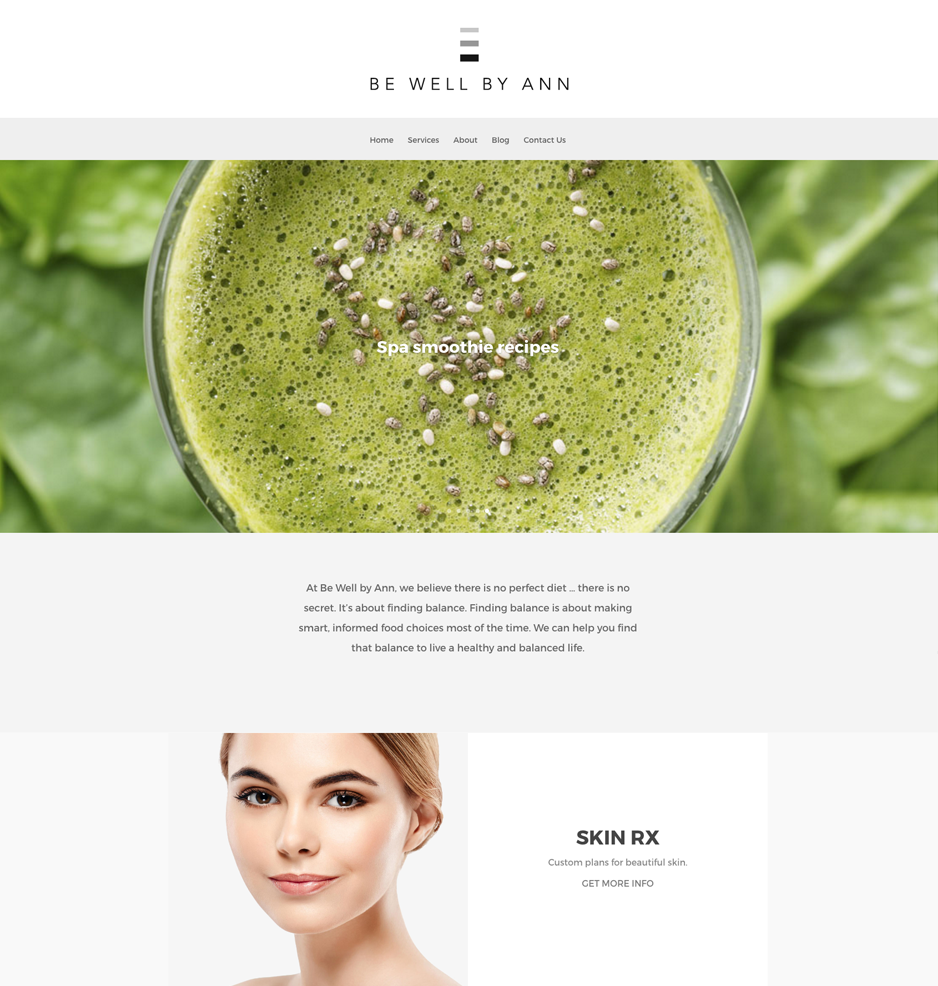 Website for Be Well by Ann