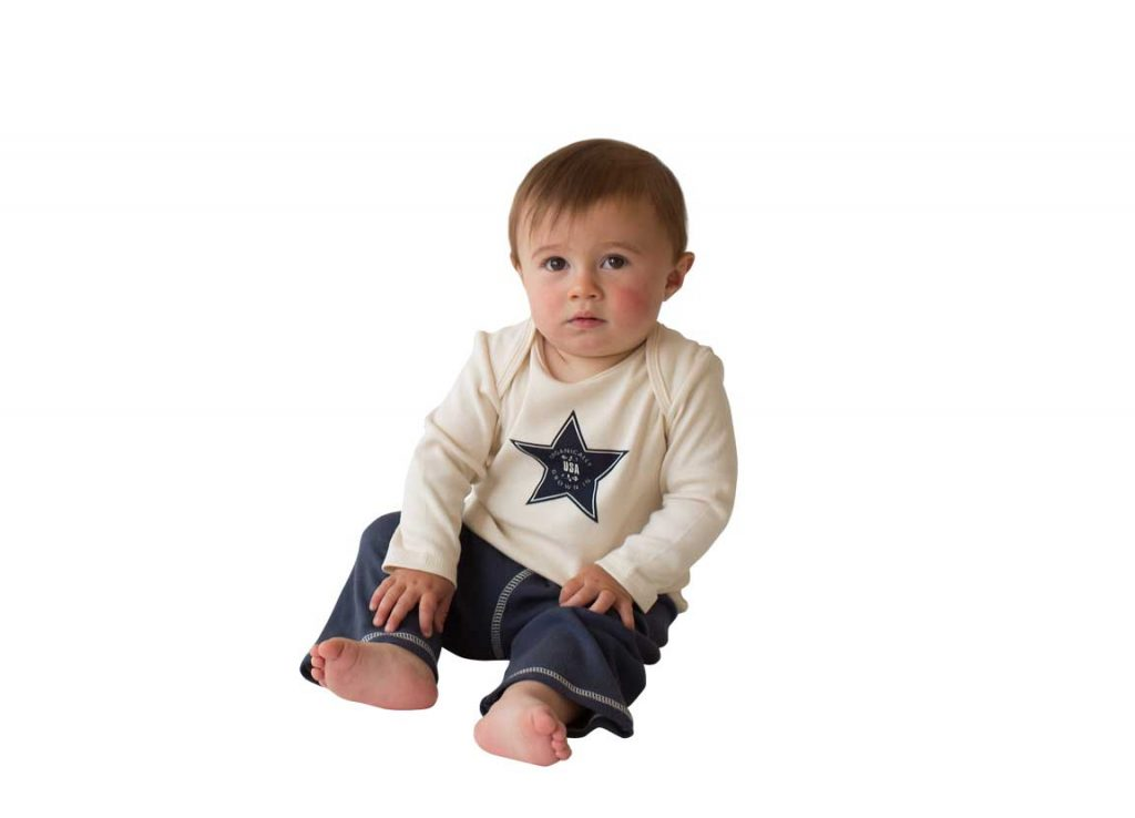 infant in organic cotton t-shirt