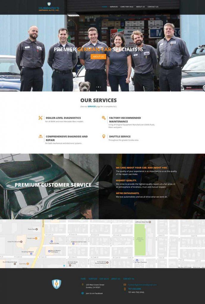 Hubbards German Auto website