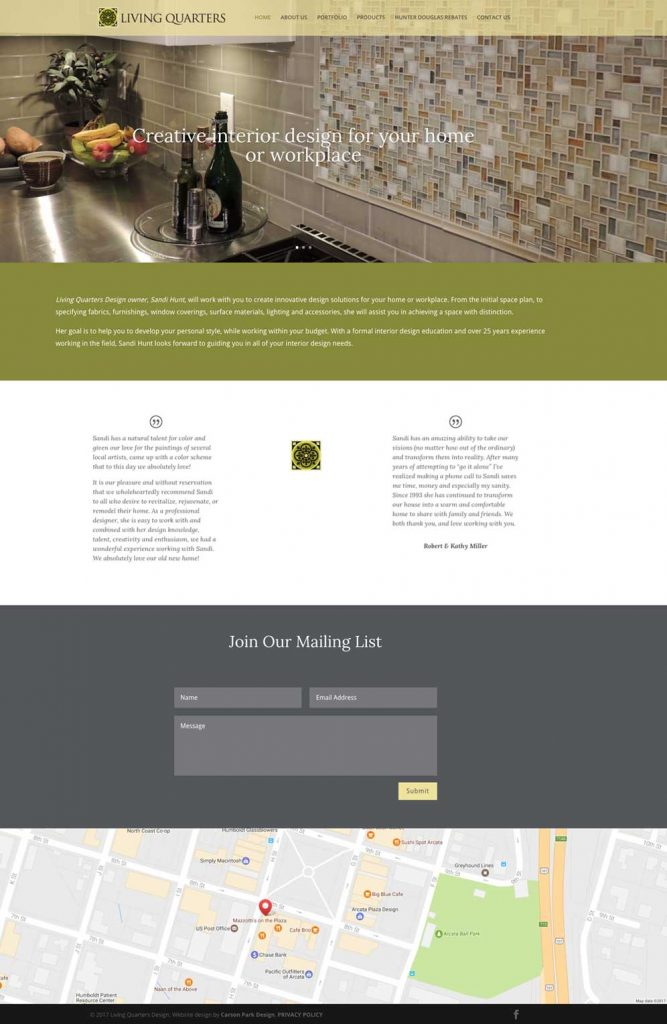 Living Quarters Design website