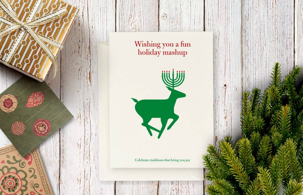 menorah deer Hanukkah holiday mash-up