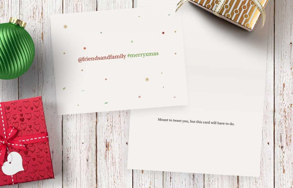 analog tweet Xmas card