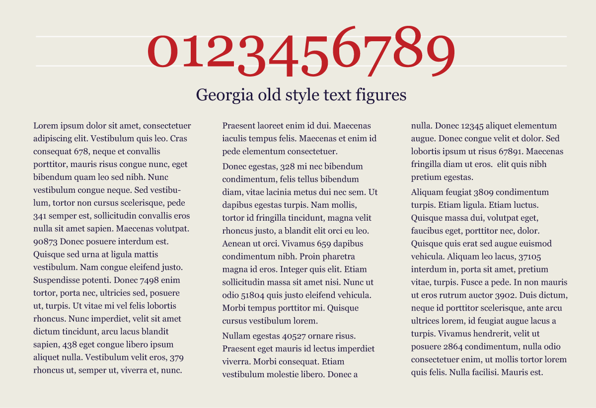Georgia old style figures blend into text
