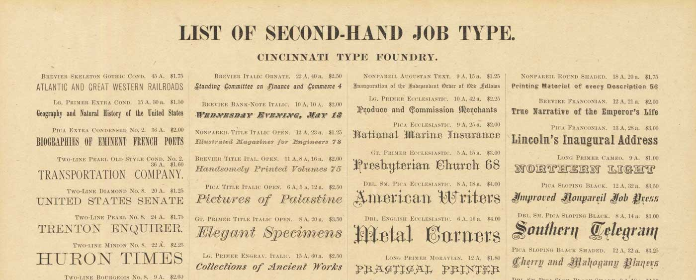 Cincinnati Type Foundry sale flyer