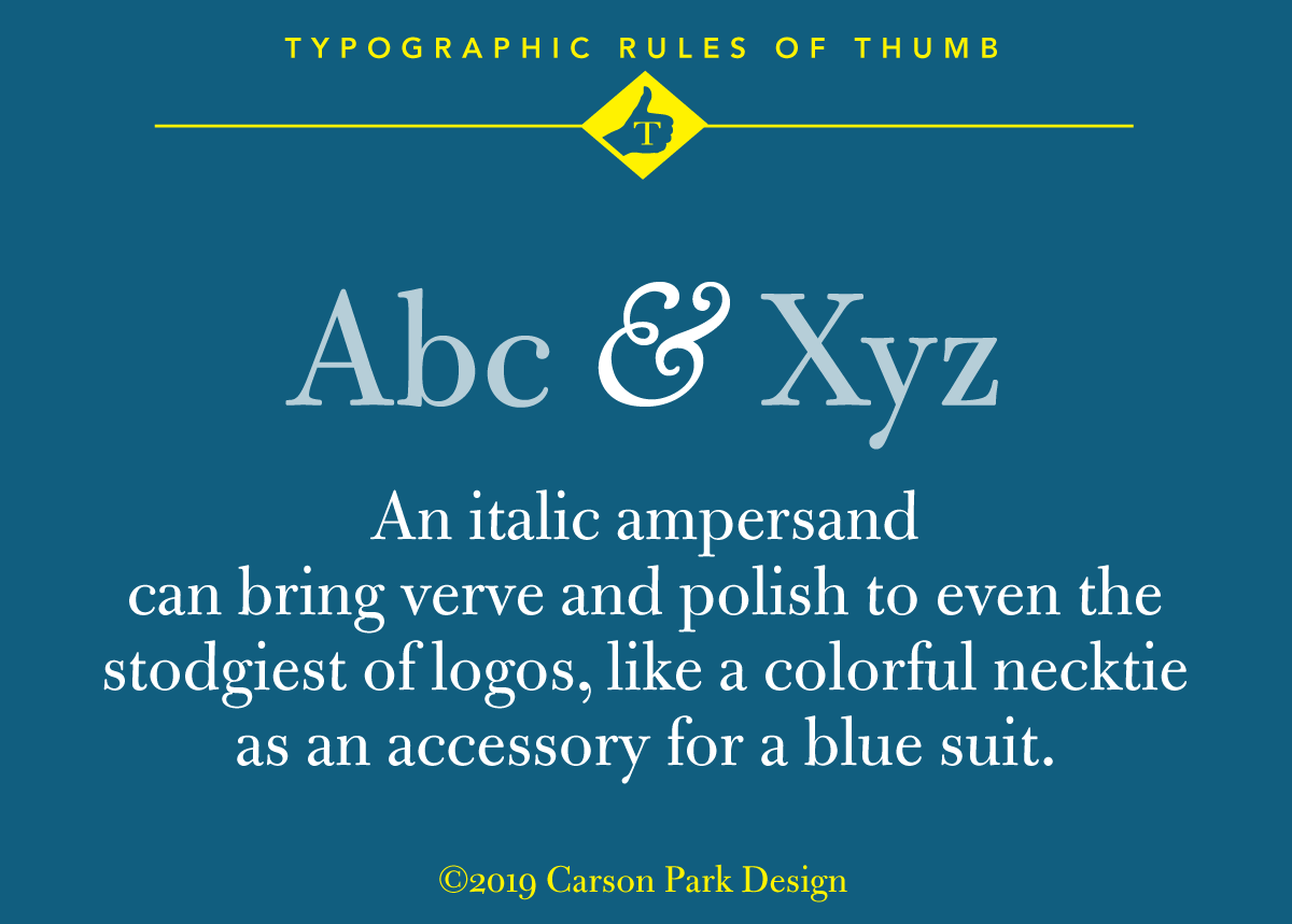 Typographic rule of thumb: italic ampersands add interest to stodgy logos