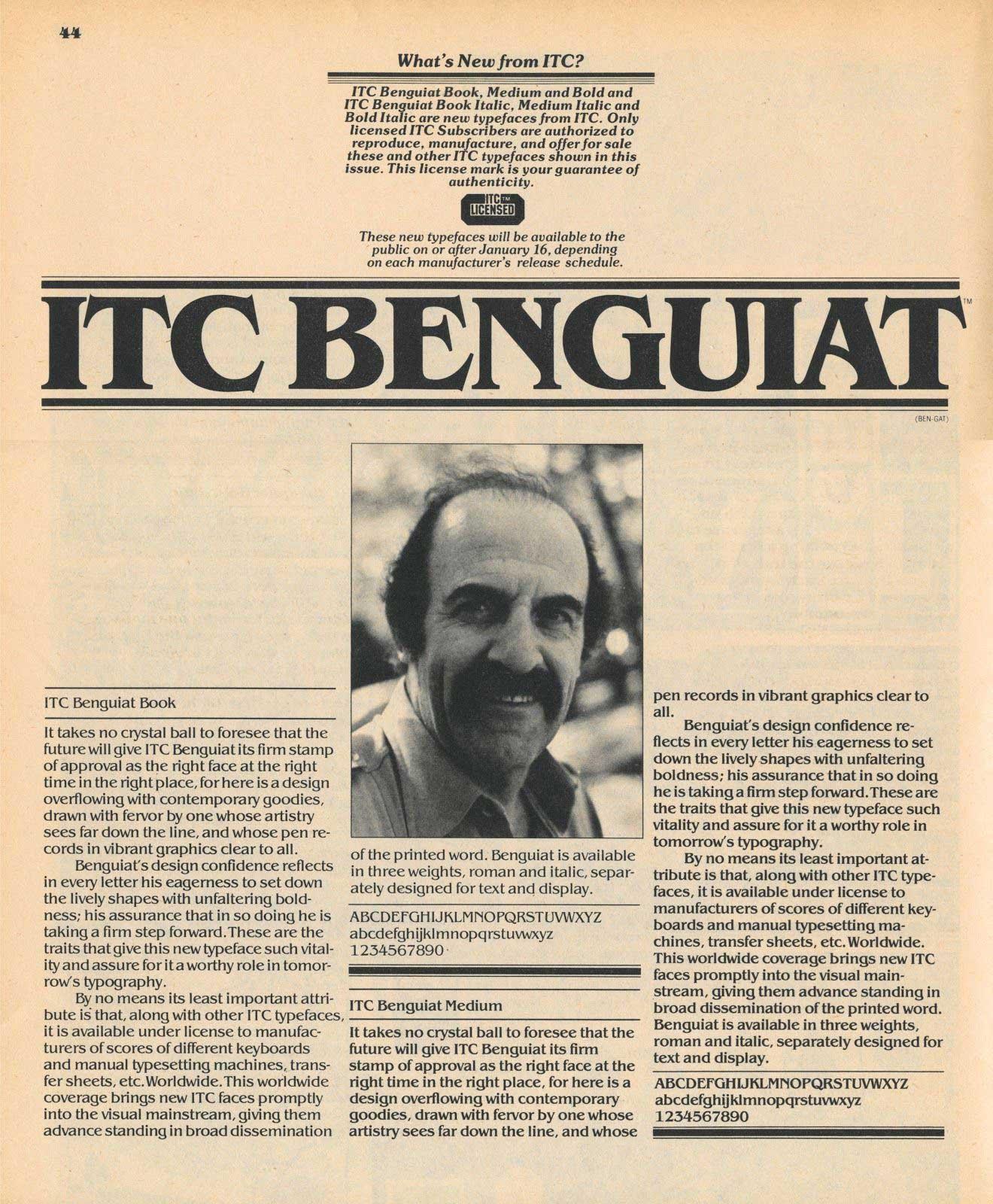 Benguiat release announcement in U&lc magazine