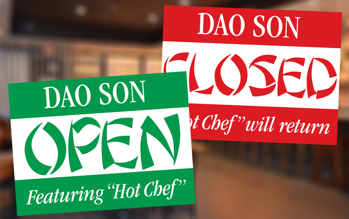 open and closed signs in chop suey typeface